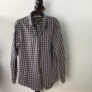 Eddie Bauer blue/gold/white plaid cotton shirt